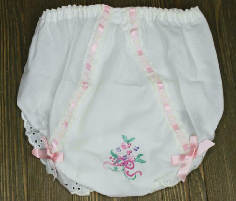 Vintage Double Seat Baby Child Bloomers Panty Hand Embroidered Painted sz 3 NEW