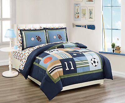 Fancy Linen 7pc Full Comforter Set Sport Navy Football Basketball Baseball New ()