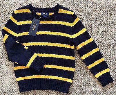 Polo Ralph Lauren Navy & Yellow Stripe Crew Neck Sweater Boys Size L (14-16)