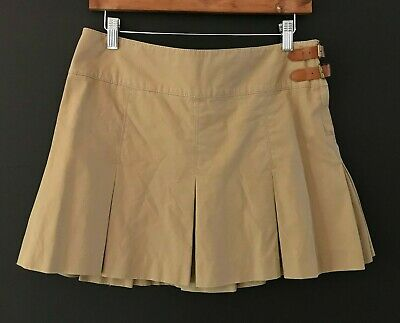 Ralph Lauren Womens Khaki Pleated Leather Buckle Mini Skirt sz 6