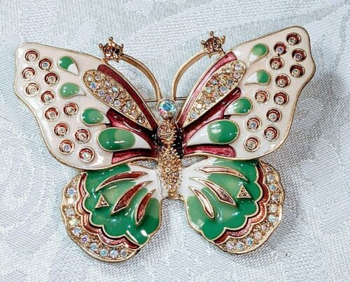 """KENNETH JAY LANE 3"""" BUTTERFLY PIN RHINESTONES ENAMELED with BOX & PAPERS"""