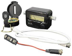 Satellite Finder SatFinder Meter Full Kit Align Sky Dish Compass Leads