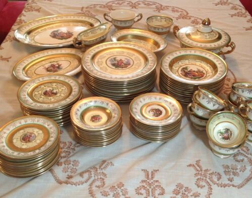 Vtg Service for 12 Edgewood China Plus Serving Pieces 22Kt Gold NJ LOCAL PICKUP