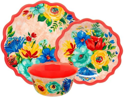 Pioneer Woman Melamine Delaney Floral 3 Pc Place Setting Red Plates Bowl NEW