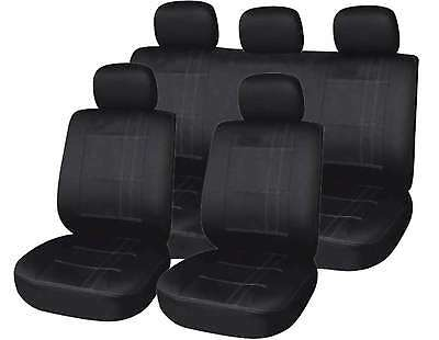 Universal Black Pin Stripe Car Seat Covers Full Set Washable Airbag Compatible