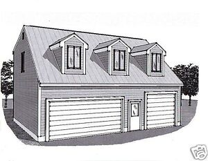 36x28 3 Car Garage Building Plans Dormered Loft 12x28
