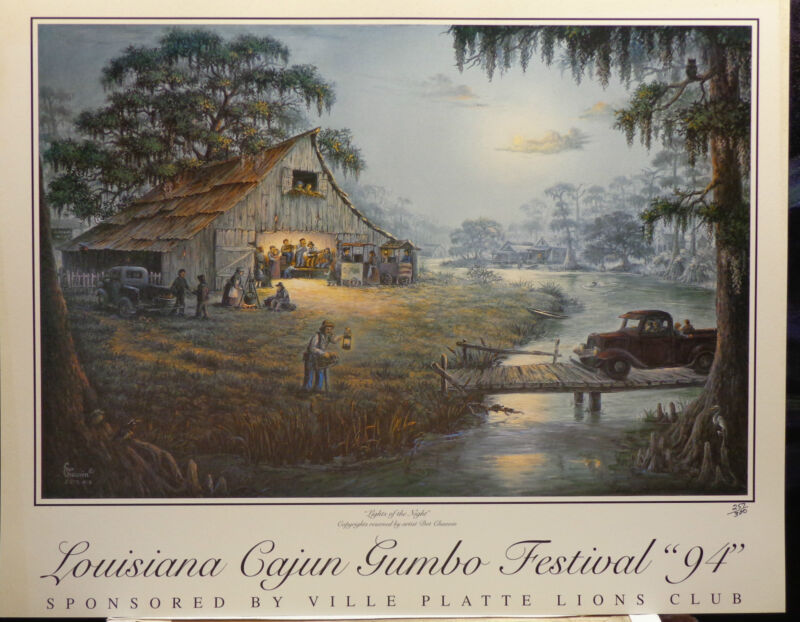 """Lights of the Night"" s/n Louisiana Cajun Gumbo Festival 1994 print/poster"