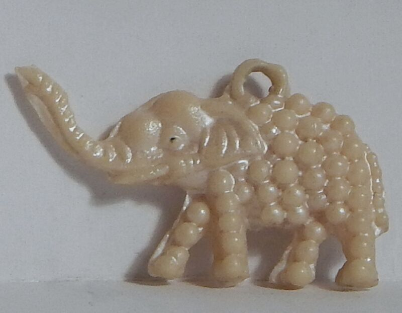 VINTAGE CELLULOID LG PEARLY ELEPHANT CHARM TRUNK UP JAPAN