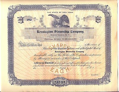Kensington Steamship Company Stock Certificate Grand Island New York