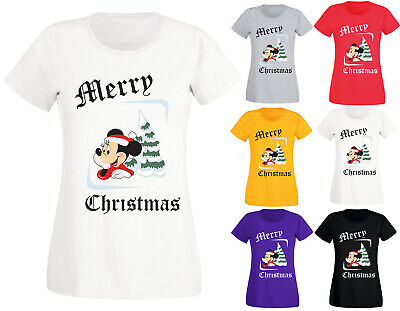 New Womens Ladies Merry Christmas Tree Minnie Mouse Novelty T-Shirt Top S-XXL