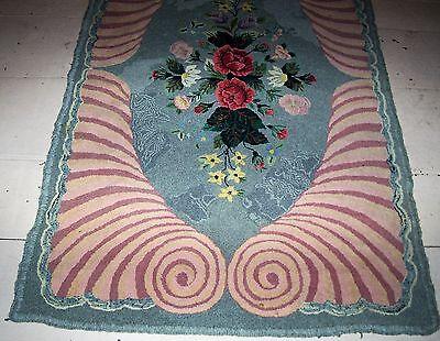 """Antique Handmade  Floral & Spiral Hooked Rug 34"""" X 54"""""""