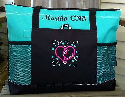 Nurse Tote Bags (Personalized Nurse Appreciation Gift Tote Bag Heart Stethoscope Medical RN)