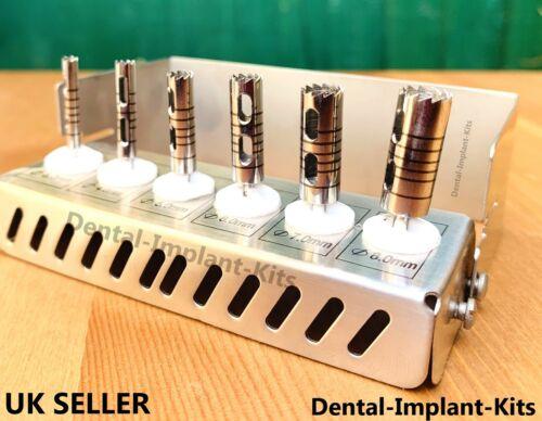 Dental Long Trephine Bur Drills Implant Kit Surgical Instruments 6 Pcs Set