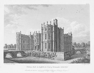 OLD ANTIQUE PRINT SUFFOLK FLIXTON HALL c1787 ENGRAVING BY SANDBY / ANGUS