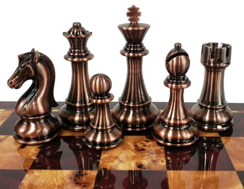 """Buy Best LARGE 4 3/8"""" King Copper & Gold Finish Staunton Chess Men Set- Only Chess Pieces, NO Board."""