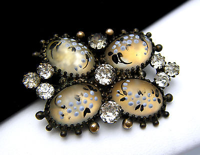 Antique Victorian Enamelled Art Glass Cabochons Brooch Pin Pastes on Lookza