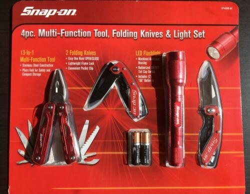 Snap-on 4 Piece Multi-Tool, Knife & Light Set, folding Knives & Flashlight ~New!