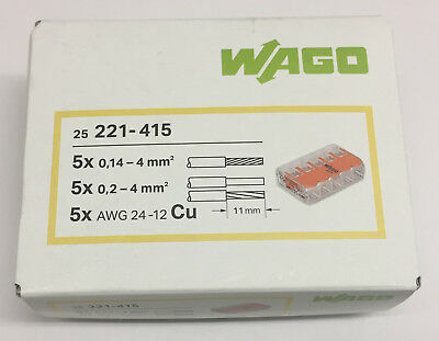 0,2-4mm 50 Wago Klemmen Hebel Verbindungsklemme bis  2x4 mm 221-412