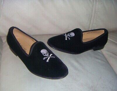 Mens Designer Del Toro Shoes Slippers Black Velvet Skull Size 9 ITALY