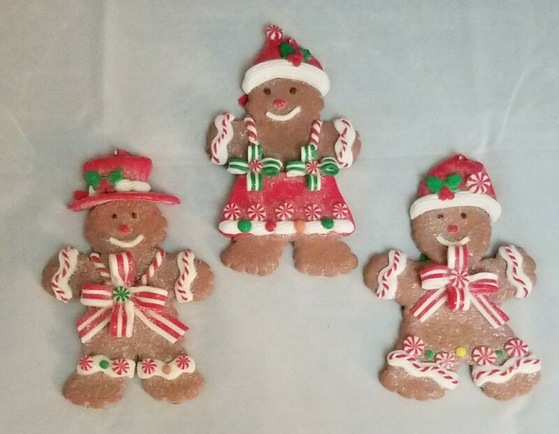 """Gingerbread Man Cookie Candy Ornament Set 3 Christmas  5.25"""" Clay-dough"""