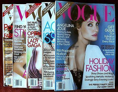 Lot of 5 Vogue Magazines ~ 2010 ~ Angelina Jolie Robert Pattinson Tina Frey