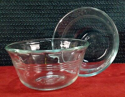 Clear Custard (2 PYREX # 463 6 oz Meal Prep Custard Bowls Clear Glass with 3 Rings GREAT PRICE )
