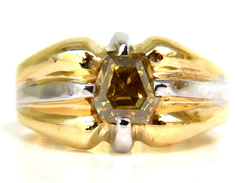 GIA NATURAL FANCY GREEN YELLOW BROWN 1.00CT DIAMOND RING 18KT $8500