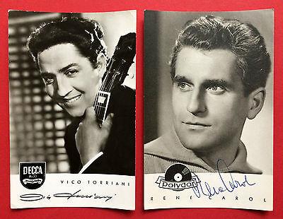 2 x AK Sänger VICO TORRIANI und RENE CAROL mit Original Autograph ( 10377