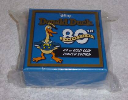 Disney Donald Duck Gold Proof Coin (never open, 80th Anniversary) Glenelg North Holdfast Bay Preview