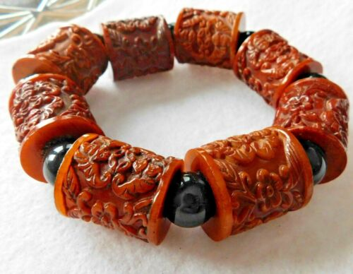 Chinese Carved Very Chunky Bracelet Stretch 8 Large Spool Like Beads Amber Color