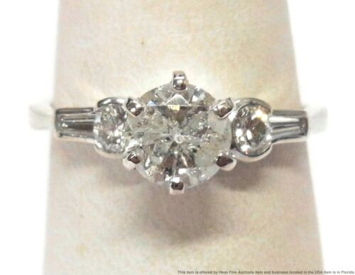 1.01ct Diamond Solitaire Center 14k White Gold Ring 1.40ctw Engagement Size 7.5