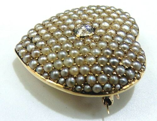 ANTIQUE 14k Yellow GOLD OLD MINE DIAMOND Seed Pearl WATCH PIN BROOCH PENDANT FOB