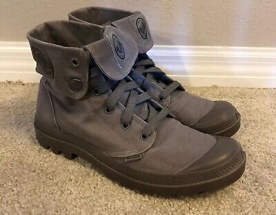 Palladium Mens Size 9.5 US EUR 42.5 Gray Fabric Baggy Ankle Boots