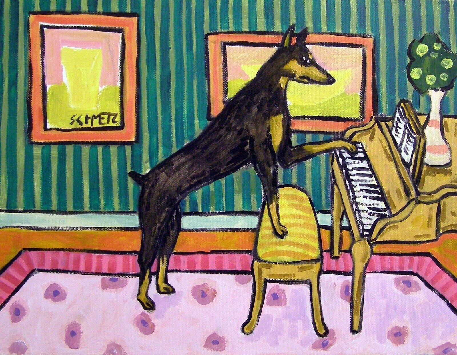 DOBERMAN PINSCHER COOKING OUT dog artist  8.5x11 glossy photo print