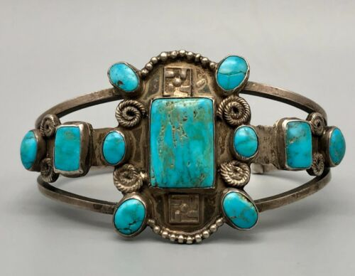 Dazzling 1920s Era Turquoise and Sterling Silver Bracelet