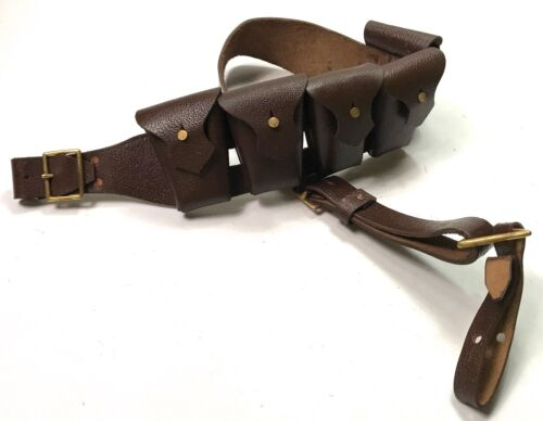 PRE-WWI BRITISH P1903 LEATHER 5 POCKET AMMO BANDOLEER BANDOLIER-BROWN