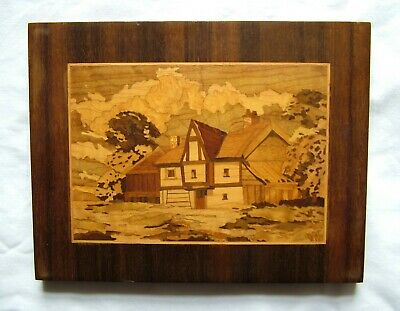 Vintage Hand Carved Wood Inlaid Picture Tudor House Barn Wall Hanging - SN 753C