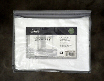 NEW RestMate WHITE HYPOALLEGERNIC QUEEN SHEET SET Egyptian Cotton 310 Thread