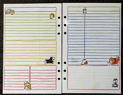 NOTES Undated Refill for A5 6-Ring Planner Organizer Insert Dog/Cat 6-ring-planner Refill