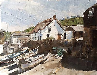 Sennen Cove Cornwall J. Coates Original Oil Painting Art 10 X 8 Inches