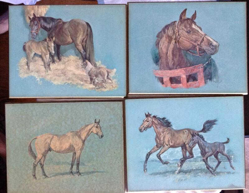 4 Horse Prints on Wood