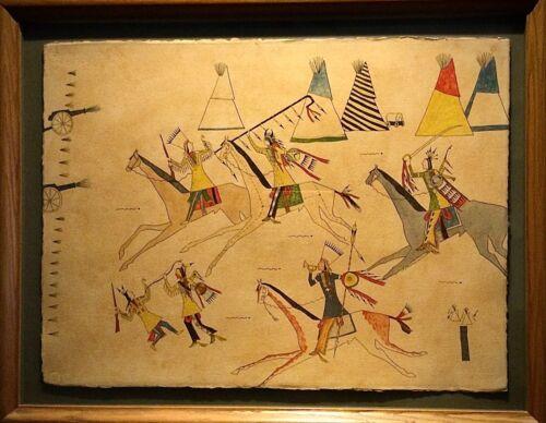 "Sherman Chaddlesone Kiowa Native American Ledger Art ""Thunder on the Plains"""