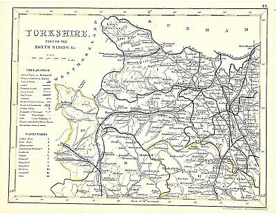 OLD ANTIQUE MAP YORKSHIRE PART NORTH RIDING c1840's by J ARCHER HAND COLOURED