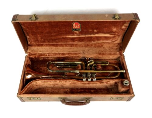 Vintage 1957 Conn Director USA Copper Bell Shooting Stars Trumpet W/ Case + MP