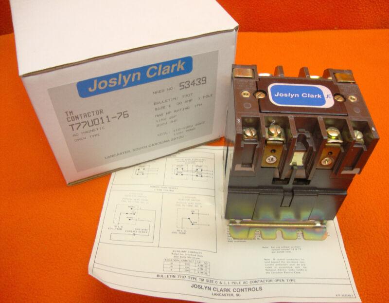 NEW Joslyn Clark T77U011-76 AC Magnetic Contactor Starter Size 1 Sylvania