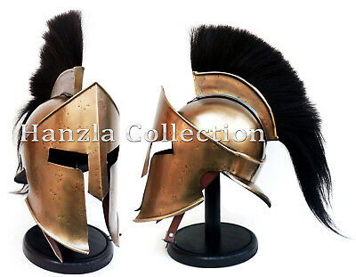Medieval Armour KING LEONIDAS GREEK SPARTAN 300 Roman Helmet on Wooden - Greek Spartan Armor