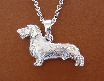 Large Sterling Silver Wire Hair Dachshund Standing Study Pendant