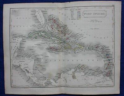 Original antique atlas map WEST INDIES, CARIBBEAN, CUBA, Samuel Butler, 1844