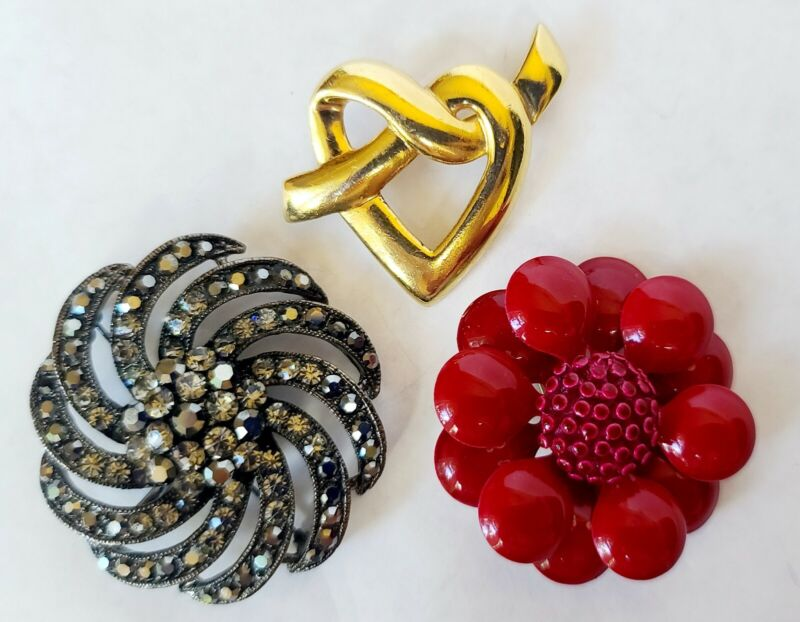 3 Vintage Brooches - 1 Signed Napier Heart - 1 Red Metal Flower- 1 Black Glass &