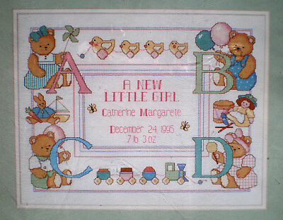 """Dimensions """"New Little Baby Birth Record"""" Boy or Girl Counted Cross Stitch Kit Baby Boy Birth Record"""